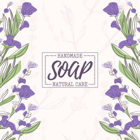 Background with handmade lavender soap. Organic cosmetic natural soap. Vector hand drawn illustration. Design for cosmetics, natural and organic products, health products, aromatherapy. Banco de Imagens - 142059022