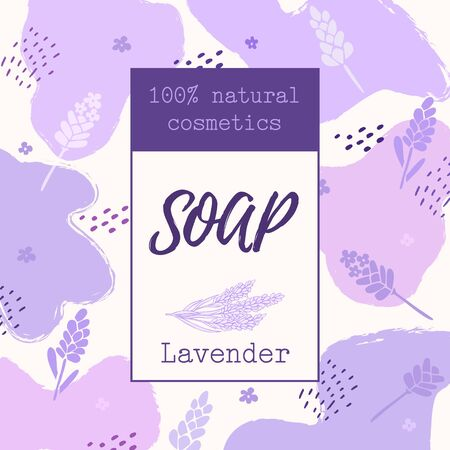 Background with natural lavender soap label. natural cosmetics
