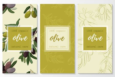 Vector set of olive natural cosmetic vertical banners on a seamless pattern.