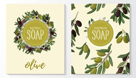 Background with handmade olive soap. Seamless pattern. Organic cosmetic natural soap.