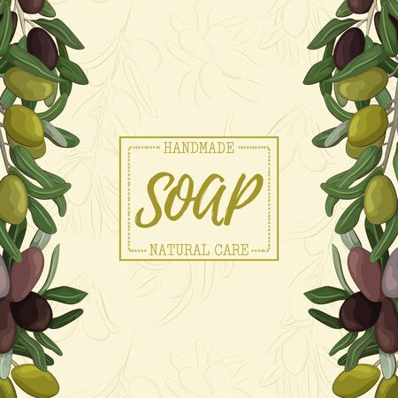 Background with handmade olive soap. Organic cosmetic natural soap. Иллюстрация