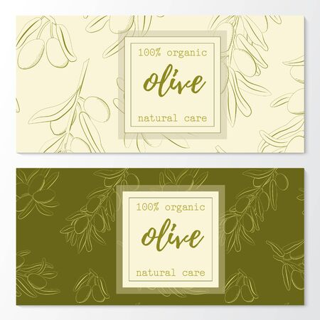 Vector set of olive natural cosmetic horizontal banners on a pattern.