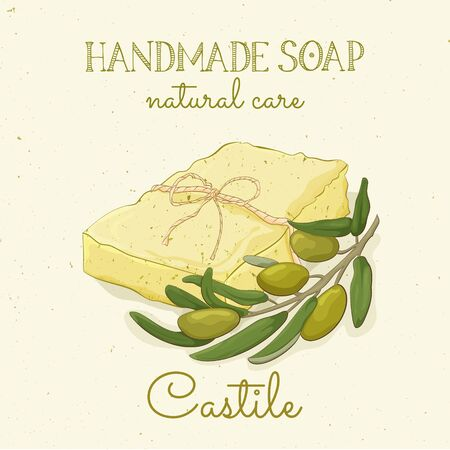 Handmade castile soap. Olive soap. Vector hand drawn illustration. Isolated, with flowers lavander and lettering. Иллюстрация