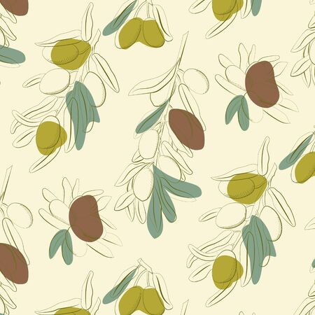 olives and olive branch background hand drawn illustration. Vector doodle style.