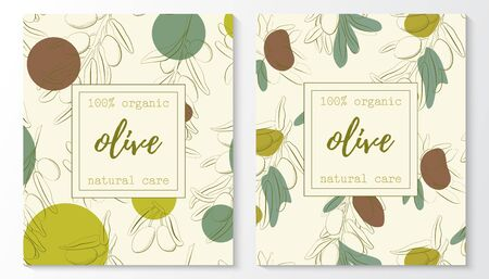 Vector set of olive natural cosmetic horizontal banners on a pattern. Vector hand drawn illustration Иллюстрация