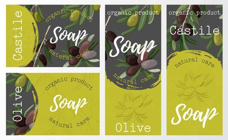 Set packaging of natural soap with olive. Organic cosmetic natural soap. Vector hand drawn illustration. Vettoriali