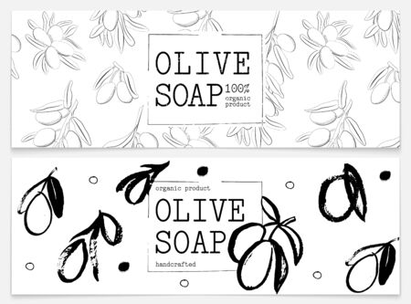 Set packaging of natural soap with olive. Organic cosmetic natural soap. Vector hand drawn illustration. Black and white design. Design for natural and organic cosmetics, health care products.