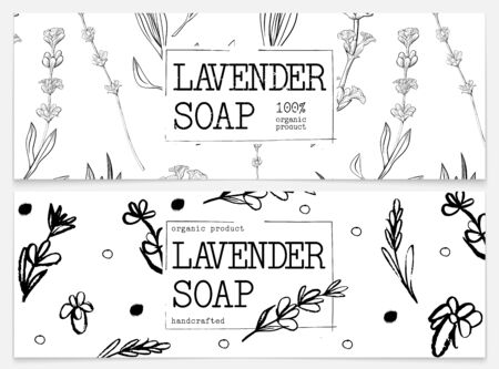 Set packaging of natural soap with lavender. Organic cosmetic natural soap. Vector hand drawn illustration. Black and white design. Design for natural and organic cosmetics, health care products. Иллюстрация
