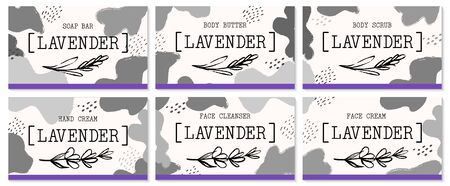 Set of labels for lavender cosmetics packaging design. Organic cosmetics and natural care.