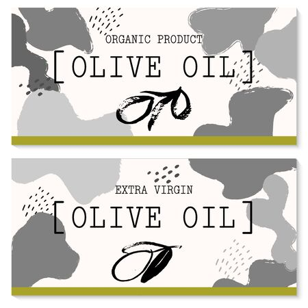 Vector packaging design elements and templates for olive oil labels and bottles