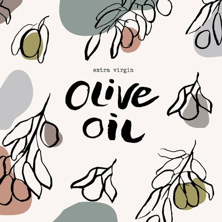 Vector packaging design and template for labels and bottles of olive oil. Abstract colorful background with doodle hand drawn elements. background and stickers for natural, organic cosmetics, food