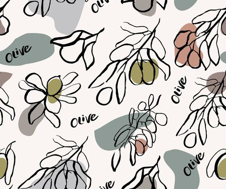 Seamless patten with olives and olive branches. Hand drawn illustration. Doodle style.