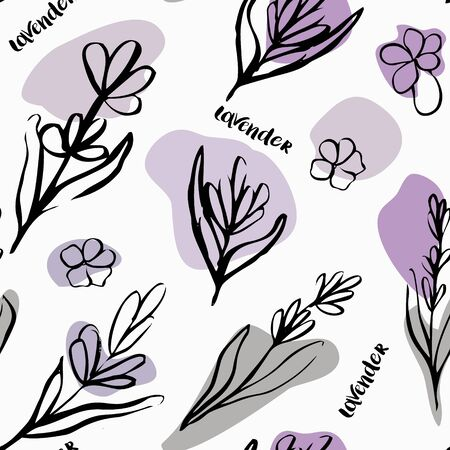 Seamless patten with lavender flowers. Hand drawn illustration. Doodle style. Иллюстрация