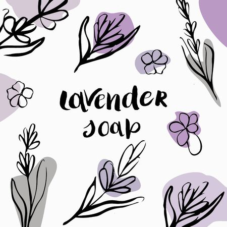 Vector packaging design and template for packaging lavender soap. Иллюстрация