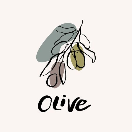 Olive black and white vector hand draw sketch with colored spots. Hand lettering text. Olive icon design template.