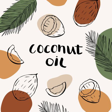 Vector packaging design and template for cosmetics labels and bottles with coconut oil. Abstract colorful background with doodle hand drawn elements. background and stickers for natural, organic cosmetics, food