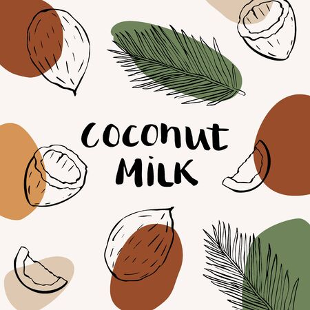 Vector packaging design and template for labels and bottles with coconut milk. Иллюстрация