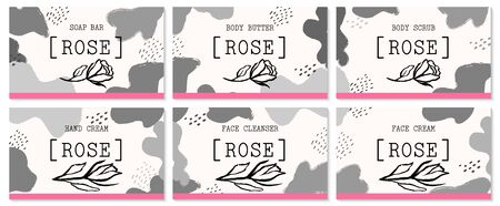 Set of labels for rose cosmetics packaging design. Organic cosmetics and natural care.