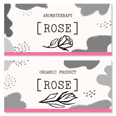 Vector packaging design and template for labels and bottles of rose and rose oil products. Vector hand drawn illustration. Abstract Background Doodle Style Stickers for Natural, Organic Cosmetics, Food Иллюстрация