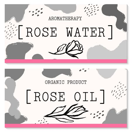 Vector packaging design and template for labels and bottles of rose water and rose oil products.