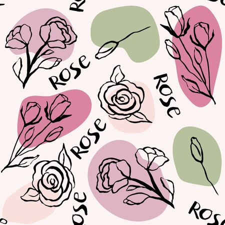 Seamless pattern with rose flowers and rose branches. Doodle style.