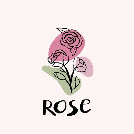 Rose black and white vector hand draw sketch with colored spots. Hand lettering text. Rose icon logo design template. Иллюстрация