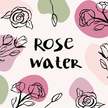 Vector packaging design elements and templates for rose water labels and bottles