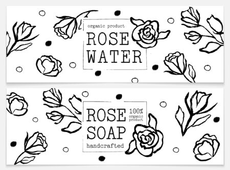 Set for packaging rose water and rose soap. Organic cosmetic natural soap, rose water. Aromatherapy. Hand craft. Vector hand drawn illustration. Black and white design. Design for natural and organic cosmetics, beauty and health products. Иллюстрация