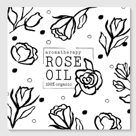 Vector packaging design elements and templates for rose oil labels and bottles Иллюстрация