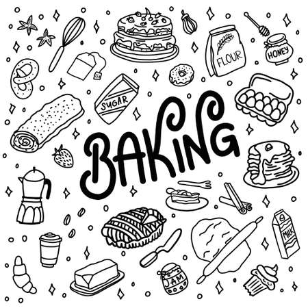 Hand drawn doodle baking utensils and kitchenware. lettering baking. White background