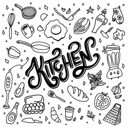 Hand drawn doodles of food and kitchen items