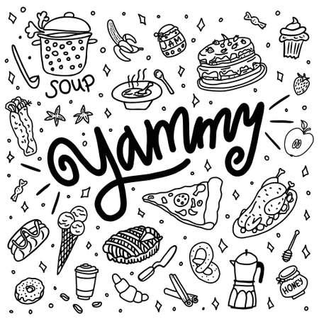 Hand drawn doodle yammy, baking, dishes and kitchenware. Ilustração