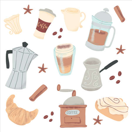 Set of hand drawn coffee and sweets