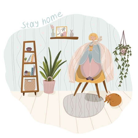Quarantine or self-isolation. The girl is sitting at home, in the room, drinking coffee. To stay home Ilustração