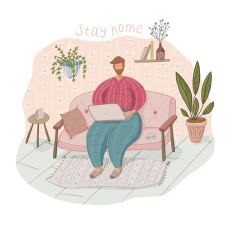 Quarantine or self-isolation. A man sits on the couch at home, works at a laptop. To stay home Ilustração