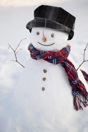 red scarf: Snowman with red scarf Stock Photo