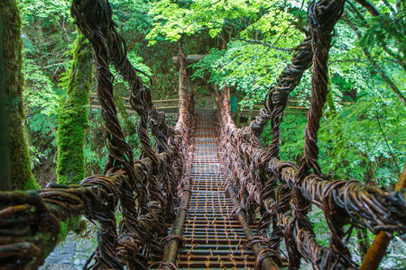 Suspension bridge made out of vine in Oboke, Shikoku