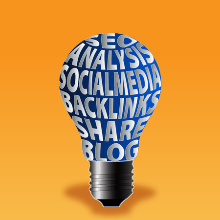 bulb of seo analysis social media backlinks share blog photo