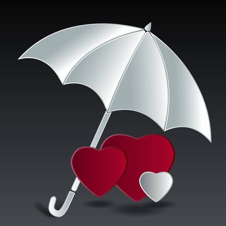 Red and white Hearts under umbrella it mean life security on black  gray background  photo
