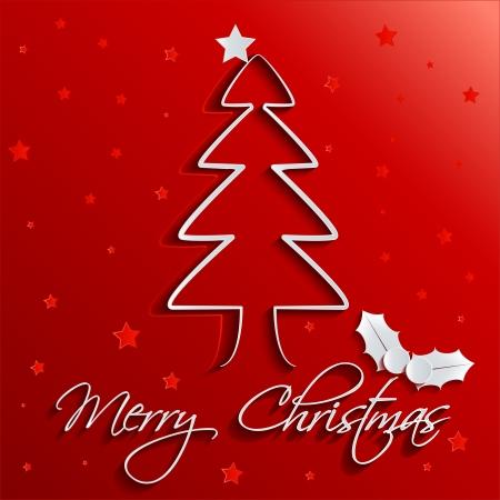 Grün Schattierte Weihnachtsbaum Auf Rotem Hintergrund Mit Sterne ...