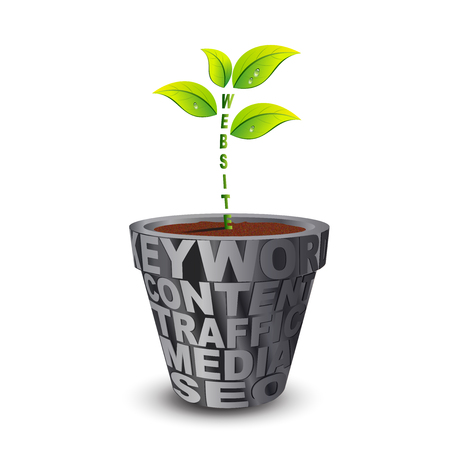 Website plant is grow in pot of keywords, content, traffic, media, seo on white background, this image is useful in seo of website  Stock Photo