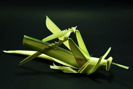 Grasshopper model made from leaves.