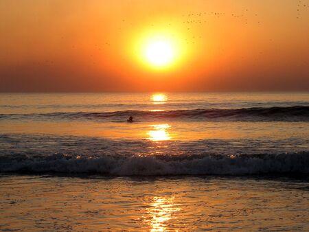 Man swim at sunset, Goa beach