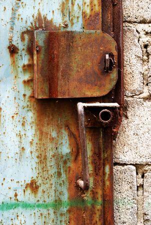 Old rusty lock on the garage door Stock Photo - 6723003