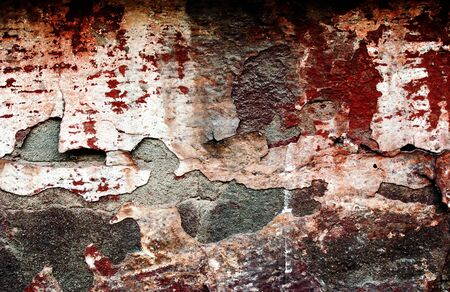 cracked concrete frame: Red grunge brickwall is dangerous Stock Photo