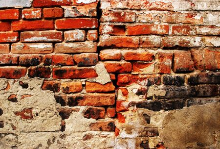 Cracked grunge brick wall back ground photo