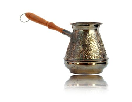 turkish ethnicity: Old style coffee pot isolated Stock Photo