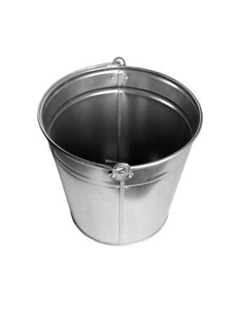 empty bowl: Zinc bucket isolated on white Stock Photo