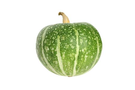 single object: Green pumpkin isolated on white