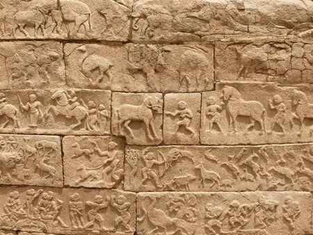 Hieroglyph wall in Hampi, India photo